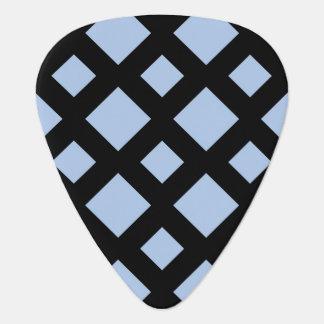 Light Blue Diamonds on Black Guitar Pick