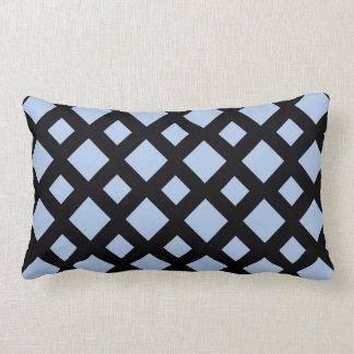 Light Blue Diamonds on Black Throw Pillows