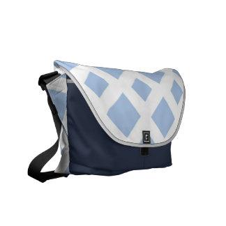 Light Blue Diamonds on White Messenger Bag