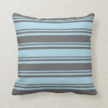 [ Thumbnail: Light Blue & Dim Grey Colored Pattern of Stripes Throw Pillow ]