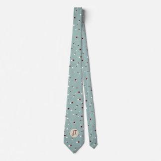 Light blue dotted design custom monogram tie