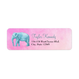 Light Blue Elephant on Dreamy Pink Watercolors Label