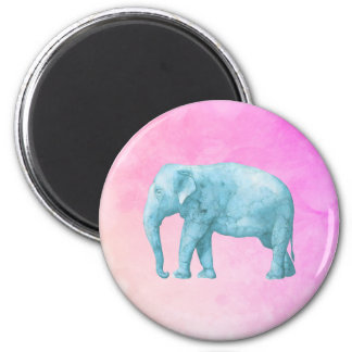 Light Blue Elephant on Dreamy Pink Watercolors Magnet