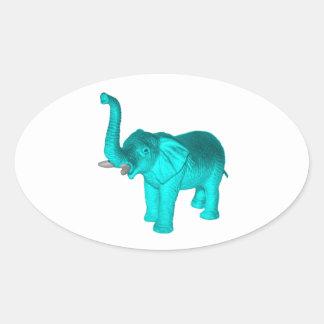 Light Blue Elephant Oval Sticker