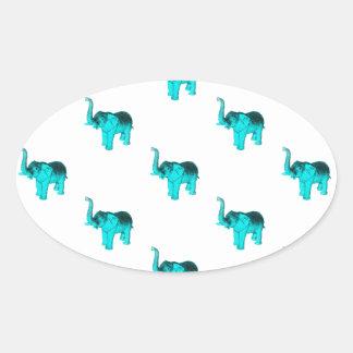 Light Blue Elephant Pattern Oval Sticker
