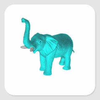 Light Blue Elephant Square Sticker