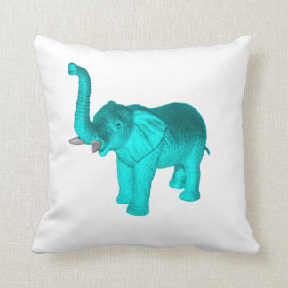 Light Blue Elephant Throw Pillow