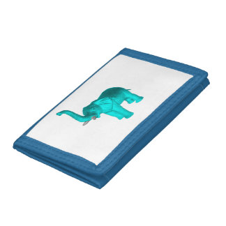 Light Blue Elephant Trifold Wallet