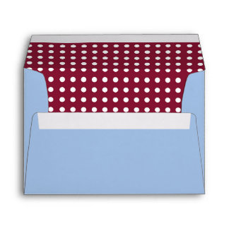 Light Blue Envelope with Maroon Polka Dot Lining