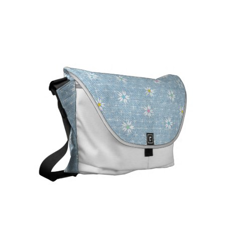 Light blue faded denim with flowers small messenger bag
