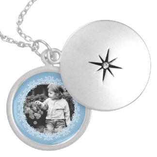 Light Blue Fancy Photo Frame Round Locket Necklace