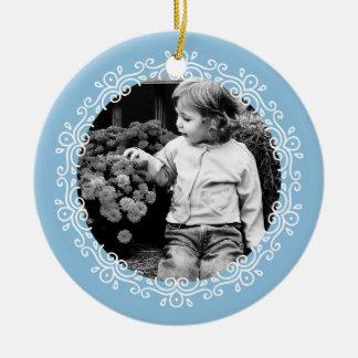 Light Blue Fancy Swirls Photo Frame Ceramic Ornament
