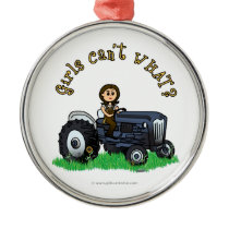 Light Blue Farmer Metal Ornament