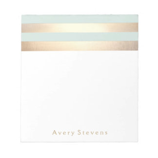 Light Blue Faux Gold Foil Stripes Notepad