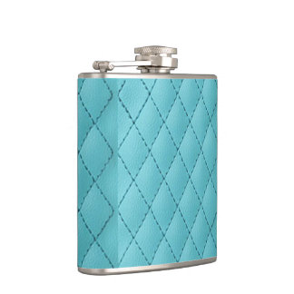 light blue faux leather graphic hipster hip flask