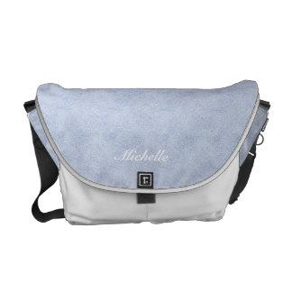 Light Blue Faux Suede Messenger Bag
