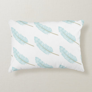 Light Blue Feather Pattern Pillow