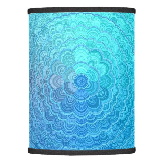Light Blue Floral Circle Mandala Lamp Shade