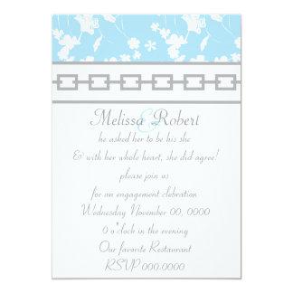 Light Blue Floral & Gray Chain Design Card