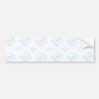 Light Blue Floral Pattern Car Bumper Sticker