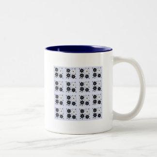 Light blue floral pattern coffee mug