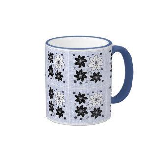 Light blue floral pattern mugs