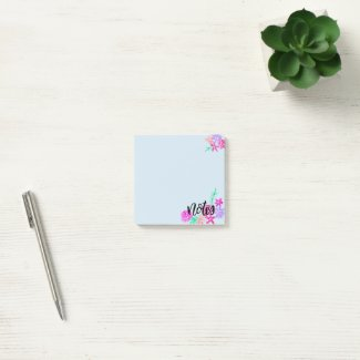 Light Blue Floral Post-It Notes