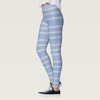 Light Blue Floral Stripe Leggings