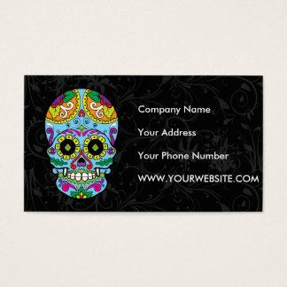 Light Blue Flowers Mexican Tattoo Sugar Skull Business Card