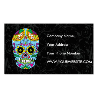 Light Blue Flowers Mexican Tattoo Sugar Skull Double-Sided Standard Business Cards (Pack Of 100)