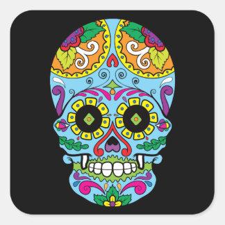 Light Blue Flowers Mexican Tattoo Sugar Skull Square Sticker