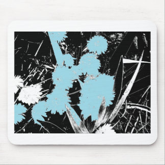 Light Blue Flowers on Black and White Mouse Pad