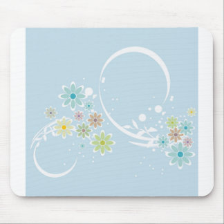Light Blue Flowers & Whimsy Mouse Pad