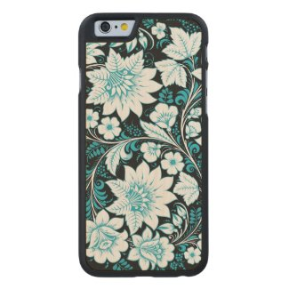 Light Blue Flowers Carved® Maple iPhone 6 Slim Case