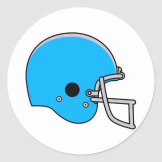 Light Blue Football Helmet Classic Round Sticker