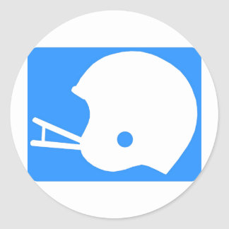 Light blue Football Helmet Logo Classic Round Sticker