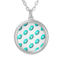 Light Blue Football Pattern Silver Plated Necklace