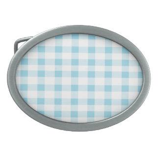 Light Blue Gingham Oval Belt Buckle