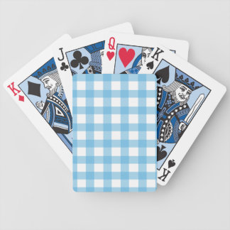 Light Blue Gingham Bicycle Playing Cards