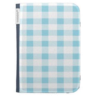 Light Blue Gingham Kindle Keyboard Case