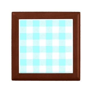 light blue gingham check pattern keepsake box