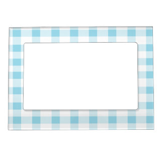 Light Blue Gingham Magnetic Frame