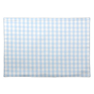 Light blue gingham pattern cloth placemat