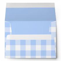 Light blue gingham pattern envelope