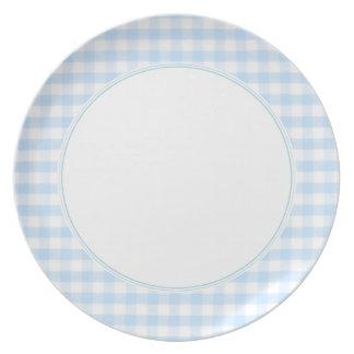 Light blue gingham pattern melamine plate