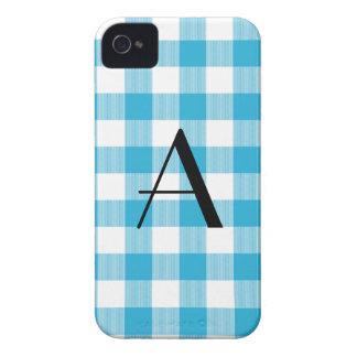 Light blue gingham pattern monogram iPhone 4 cover