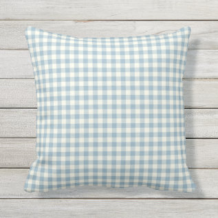 Light Blue Gingham Pattern Outdoor Pillows at Zazzle