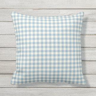 Light Blue Gingham Pattern Outdoor Pillows