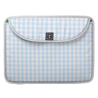 Light blue gingham pattern sleeve for MacBooks