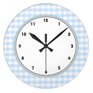 Light blue gingham pattern wall clocks